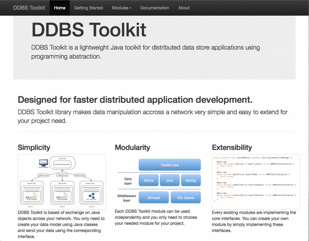 DDBS Toolkit - A lightweight Java toolkit for distributed data store applications