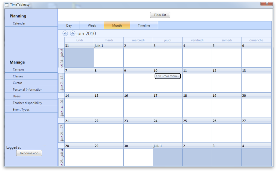 The planning of the different users is available via a calendar.
